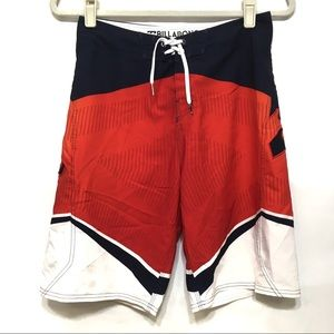 BILLABONG PLATINUM X RED WHT BLK SWIM BOARD SHORTS